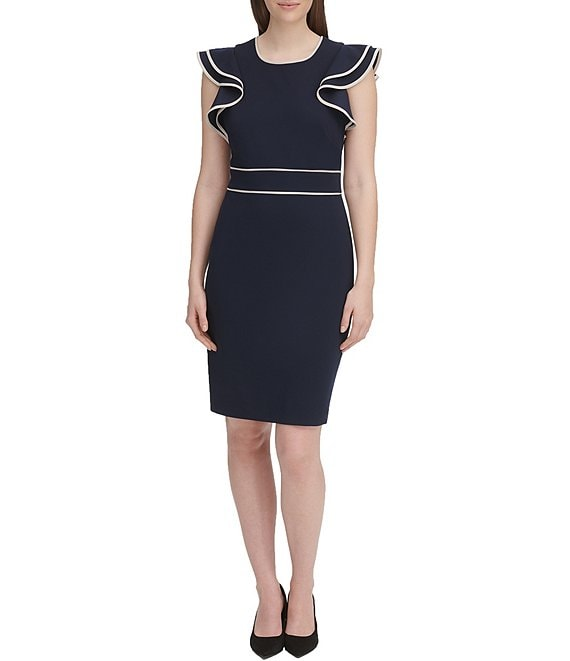 Tommy Hilfiger Scuba Crepe Ruffle Sleeve Pipe Trim Sheath Dress
