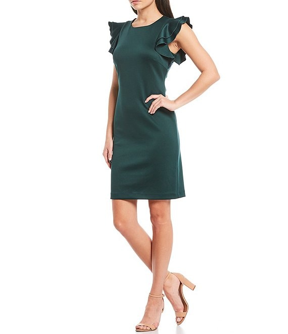 Color:Cypress - Image 1 - Scuba Flutter Ruffle Cap Sleeve Sheath Dress