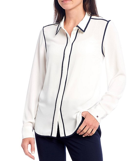 Color:Ivory - Image 1 - Soft Woven Contrast Pipe Trim Long Sleeve Shirt