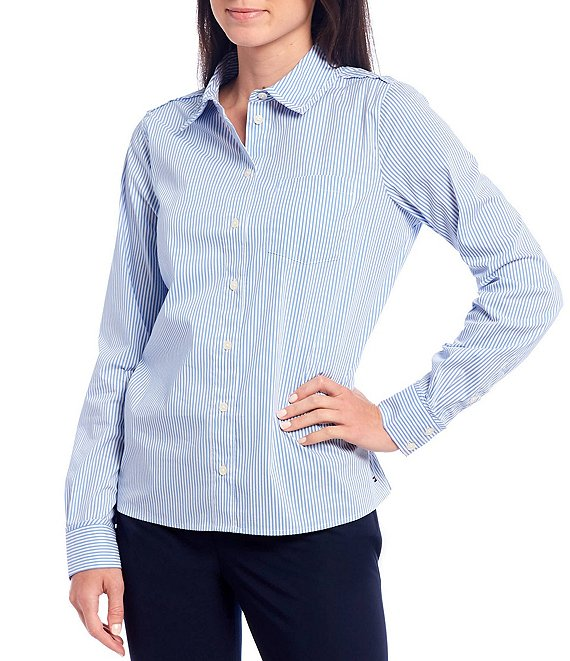 Color:Blue/White - Image 1 - Sutton Stripe Print Stretch Poplin Long Sleeve Cotton Blend Shirt