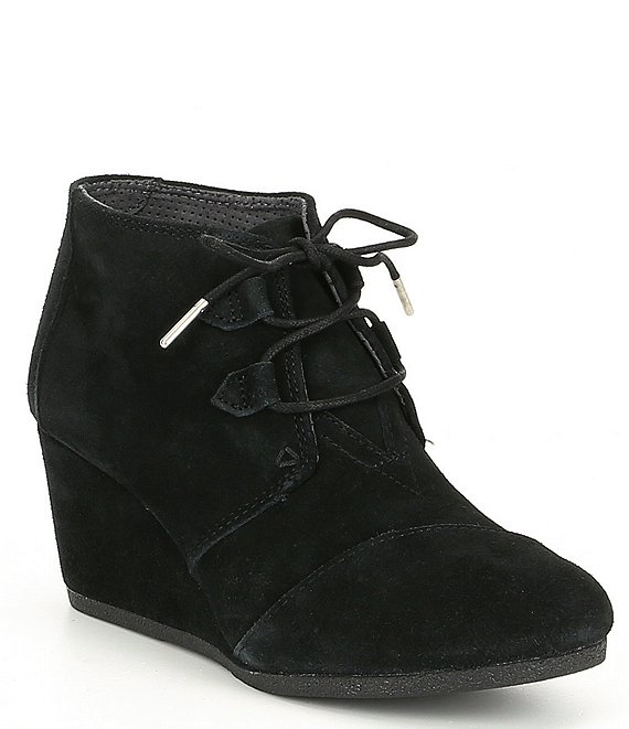 0558610504f TOMS Kala Suede Lace Up Wedge Booties