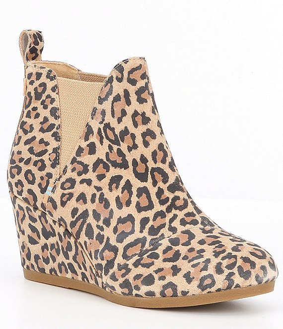 Color:Natural - Image 1 - Kelsey Leopard Print Suede Chelsea Wedge Booties