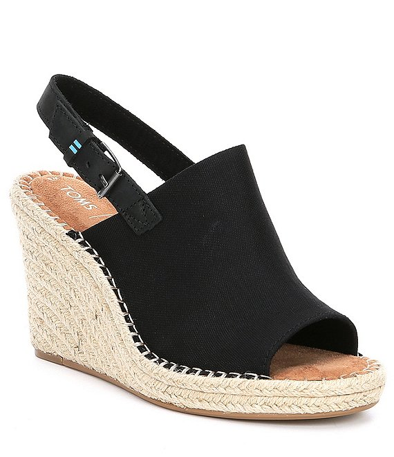 Color:Black - Image 1 - Monica Canvas Wedge Espadrille Sandals