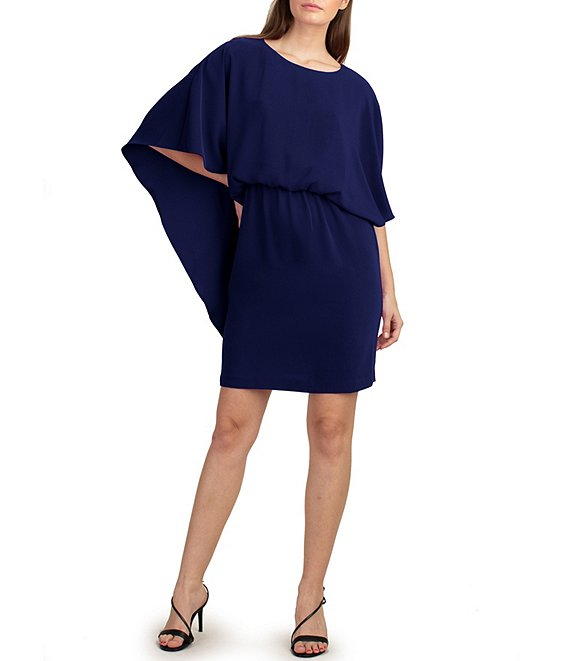 Color:Indigo - Image 1 - trina Trina Turk Cape Back Blouson Dress