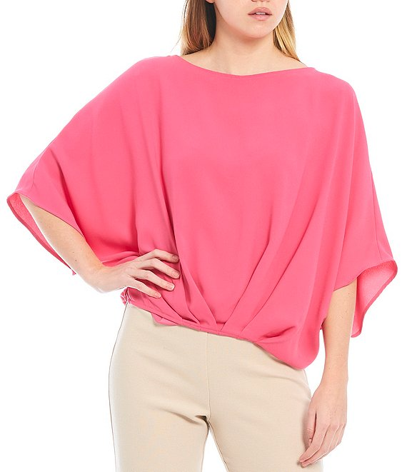 Color:Playa Pink - Image 1 - Coralline Round Neck Twist Front Oversized Top