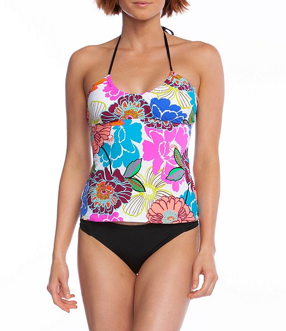 Trina Turk Radiant Blooms Halter Tankini Top & Studio Solids Shirred Hipster Bikini Bottom