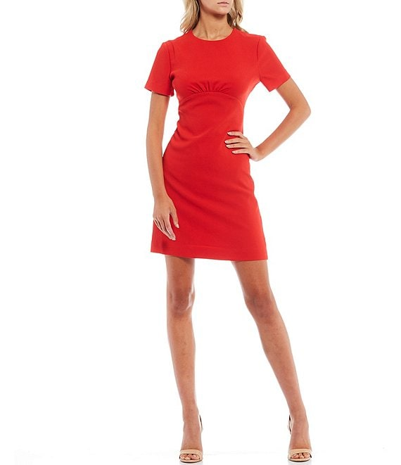Color:Radcliffe Red - Image 1 - Short Sleeve Pleated Waist Seam Sheath Dress