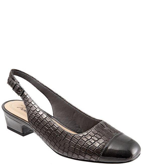 Color:Pewter - Image 1 - Dea Patent Croco Print Slingback Block Heel Pumps