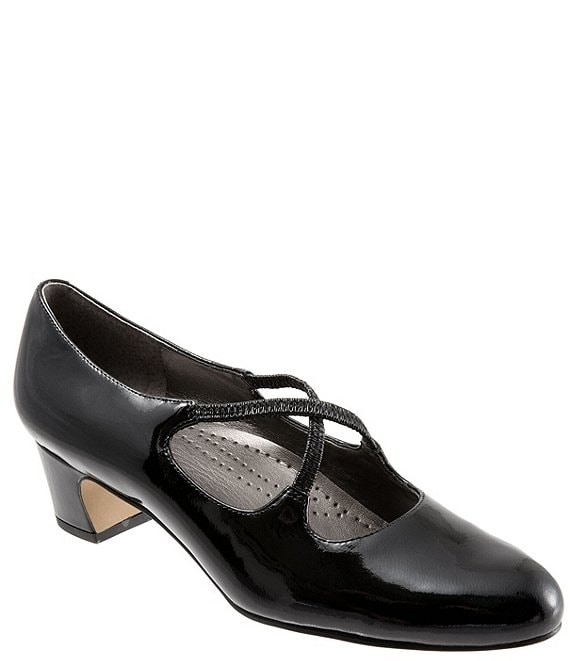 b8d3c161b0 Trotters Jamie Patent Leather Cross Over Band Block Heel Pumps ...