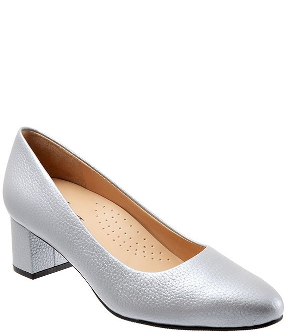 Color:Silver - Image 1 - Kari Pearlized Leather Block-Heel Pumps
