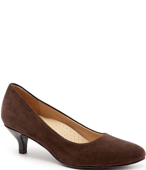 Color:Dark Brown Suede - Image 1 - Kiera Suede Kitten Heel Pumps