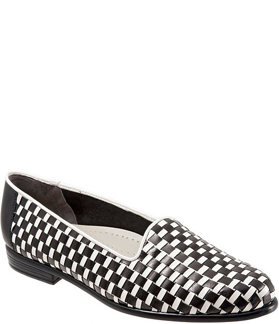 Color:Black/White - Image 1 - Liz Woven Leather and Patent Block Heel Loafers