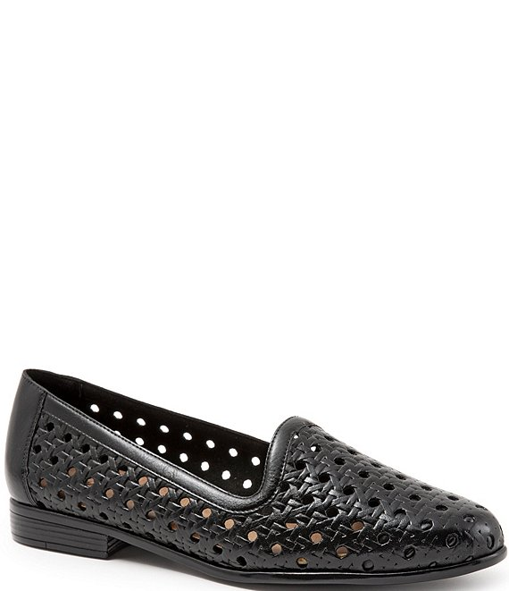Color:Black - Image 1 - Liz Woven Leather Loafers
