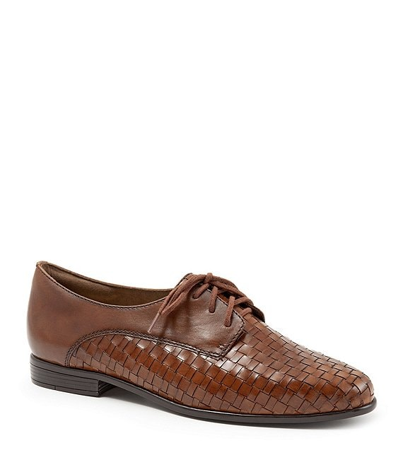 Color:Cognac - Image 1 - Lizzie Woven Leather Oxfords