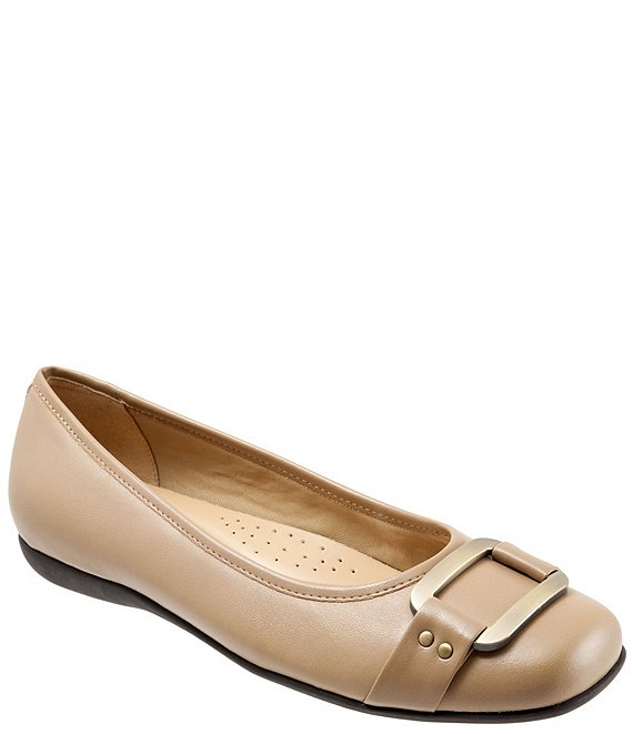 Color:Taupe - Image 1 - Sizzle Metal Ornament Buckle Flats