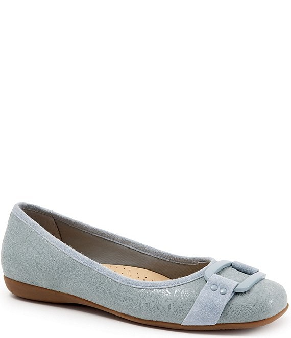 Color:Washed Blue - Image 1 - Sizzle Embossed Metal Ornament Buckle Flats