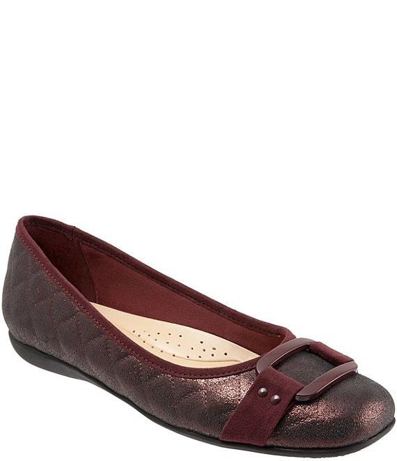 Color:Burgundy Quilted - Image 1 - Sizzle Quilted Leather and Suede Ballerina Flats
