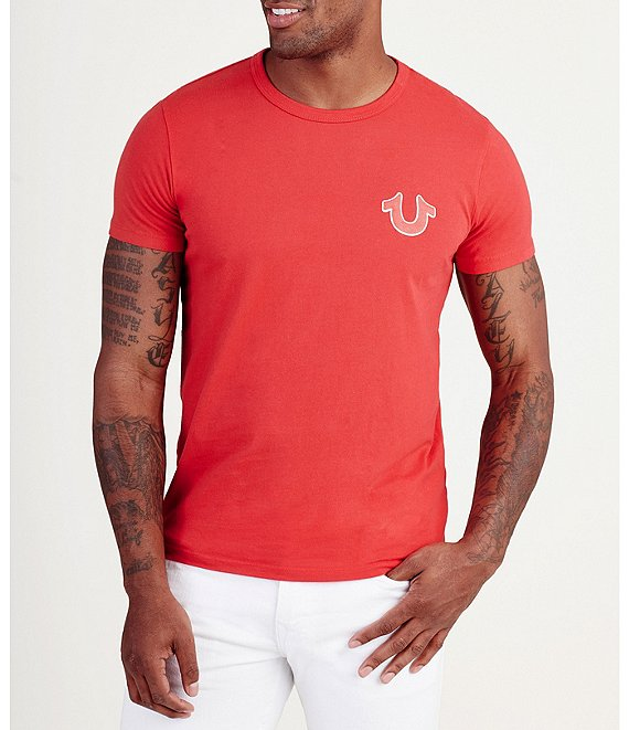Color:Ruby Red - Image 1 - Double Puff Crew Neck Short-Sleeve Graphic Tee