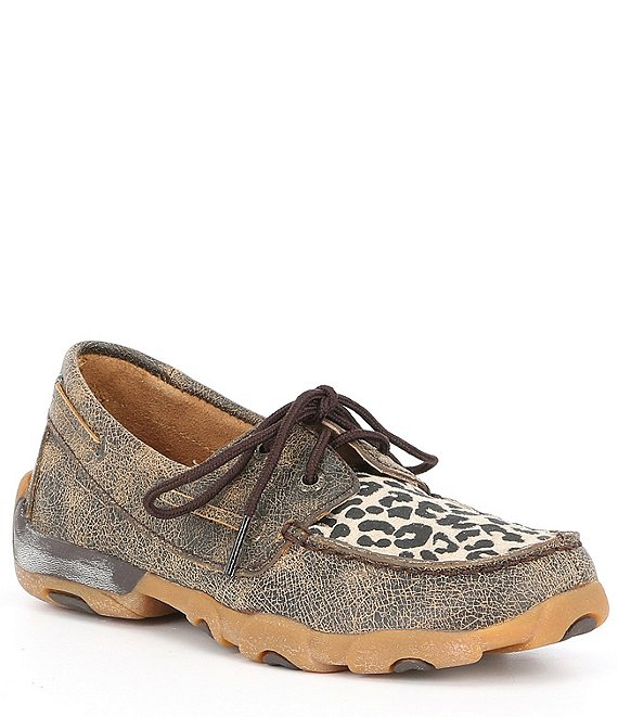 Color:Leopard Brown - Image 1 - Girls' Driving Leopard Print Moccasins (Youth)