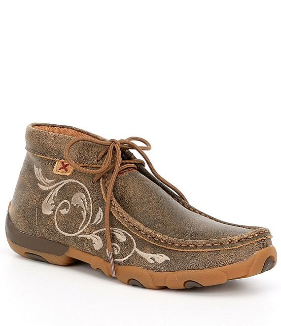 Color:Bomber Brown - Image 1 - Women's Embroidered Chukka Driving Mocs