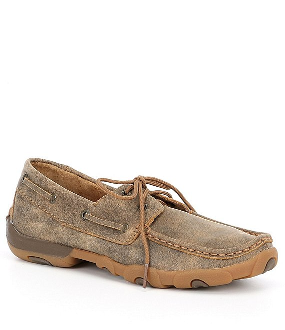 Color:Bomber Brown - Image 1 - Women's Leather Boat Driving Mocs