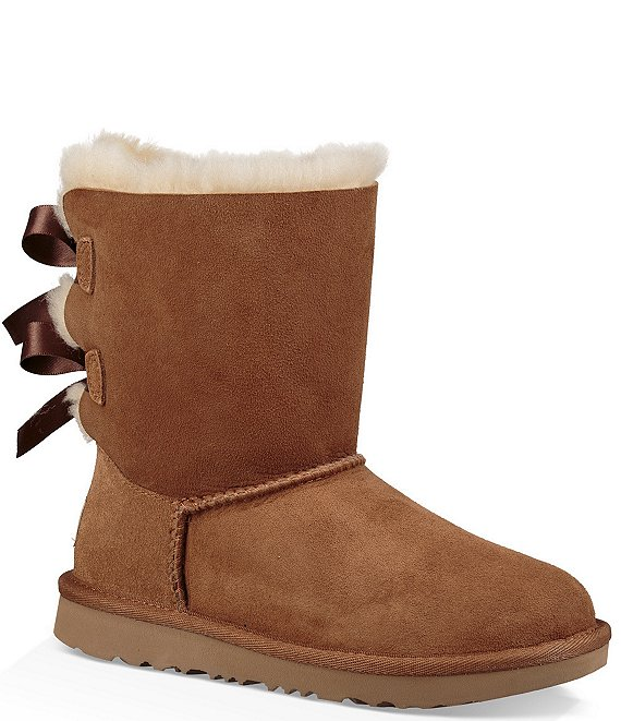 Color:Chestnut - Image 1 - UGG® Girls' Bailey Bow II Water Resistant Boots (Youth)