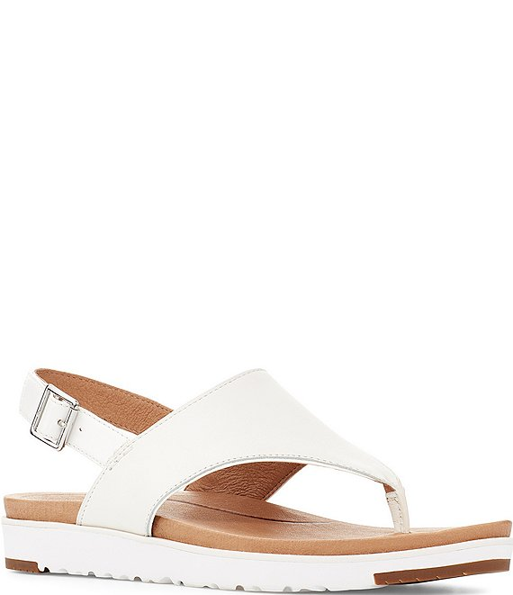 Color:White - Image 1 - UGG® Alessia Leather Slingback Sandals