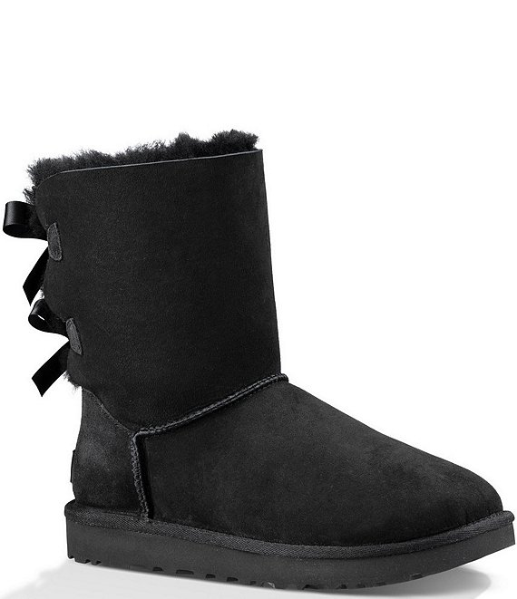 Color:Black - Image 1 - UGG® Bailey Suede Bow II Water-Repellent Boots