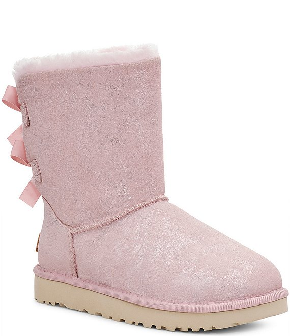 Color:Pink Cloud - Image 1 - UGG® Bailey Bow II Shimmer Metallic Suede Boots