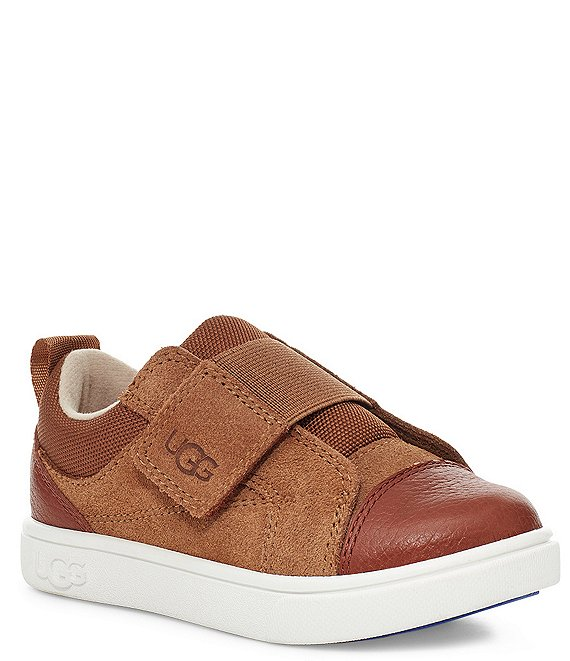 Color:Chestnut - Image 1 - UGG® Kids' Rennon Low Suede Leather Sneakers (Toddler)