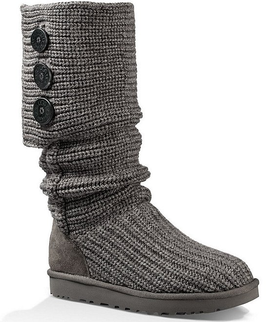 Color:Grey - Image 1 - UGG® Classic Cardy Button Detailed Knit Boots