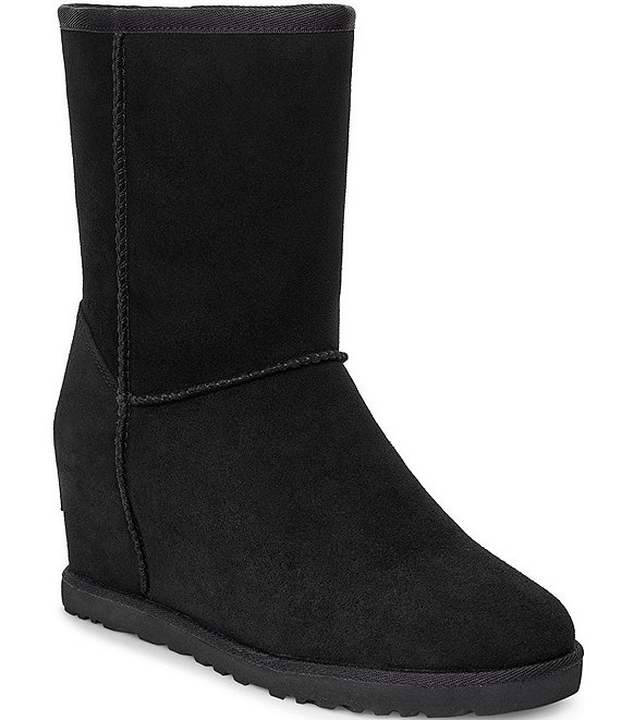 Color:Black - Image 1 - Classic Femme Short Wedge Boots