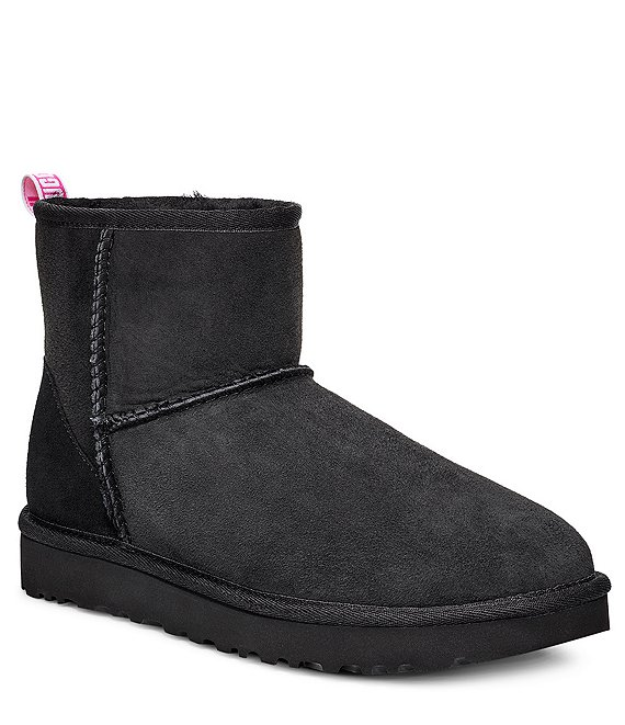 Color:Black/Neon Pink - Image 1 - UGG® Classic Mini II Graphic Logo Water-Repellent Boots