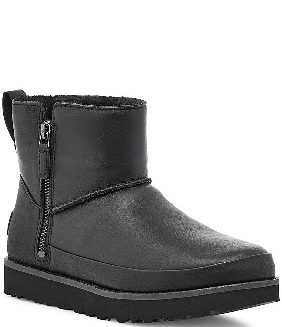 Color:Black - Image 1 - UGG® Classic Zip Mini Waterproof Leather Lug Sole Boots