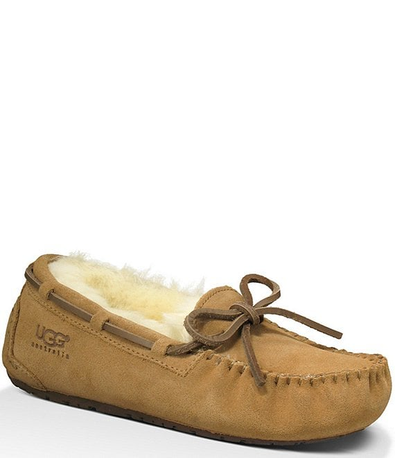 Color:Chestnut - Image 1 - UGG® Kids' Dakota Suede Slippers (Youth)