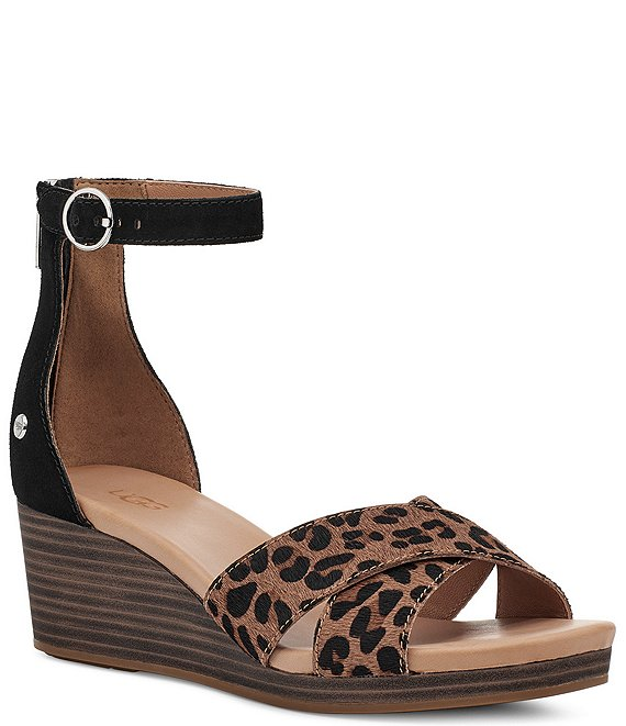 Color:Black/Tan - Image 1 - UGG® Eugenia Leopard Calf Hair Ankle Strap Wedge Sandals