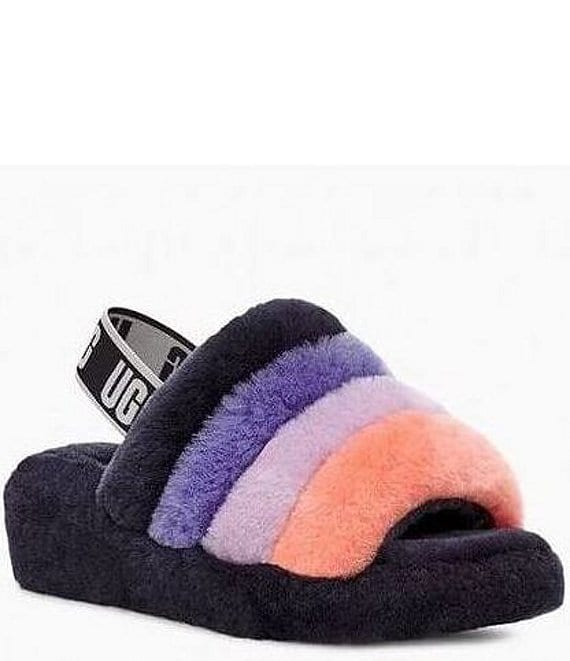 Color:Starry Night Multi - Image 1 - UGG® Logo Fluff Yeah Multi-Color Slides