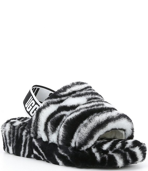 Color:Black/White - Image 1 - UGG® Fluff Yeah Zebra Print Fur Slides