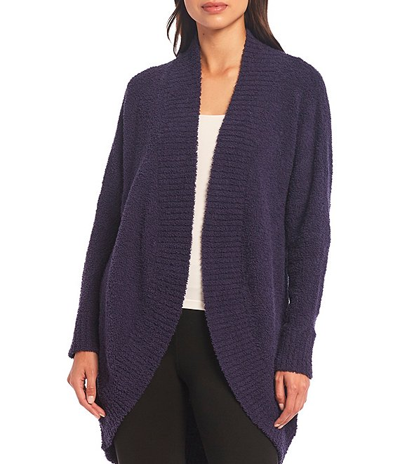 Color:Navy - Image 1 - Fremont Fluffy Sweater Knit Lounge Cardigan