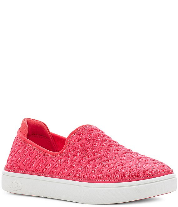 Color:Strawberry Metallic - Image 1 - UGG® Girls' Caplan Slip-On Metallic Sneakers (Toddler)