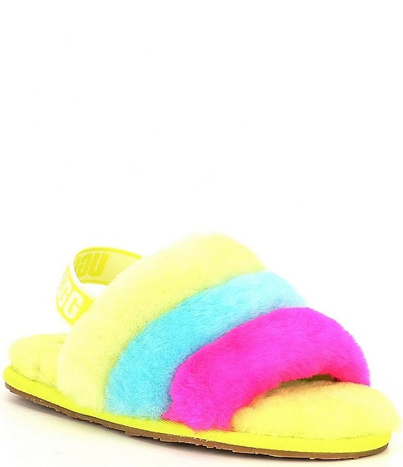 Color:Neon Rainbow - Image 1 - UGG® Girls' Fluff Yeah Slides (Toddler)