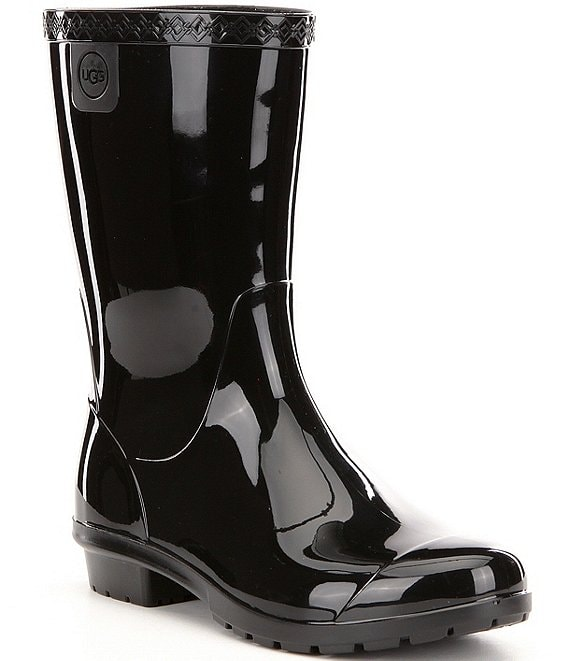 Color:Black - Image 1 - UGG® Girls' Raana Rubber Gloss Rain Boots (Youth)
