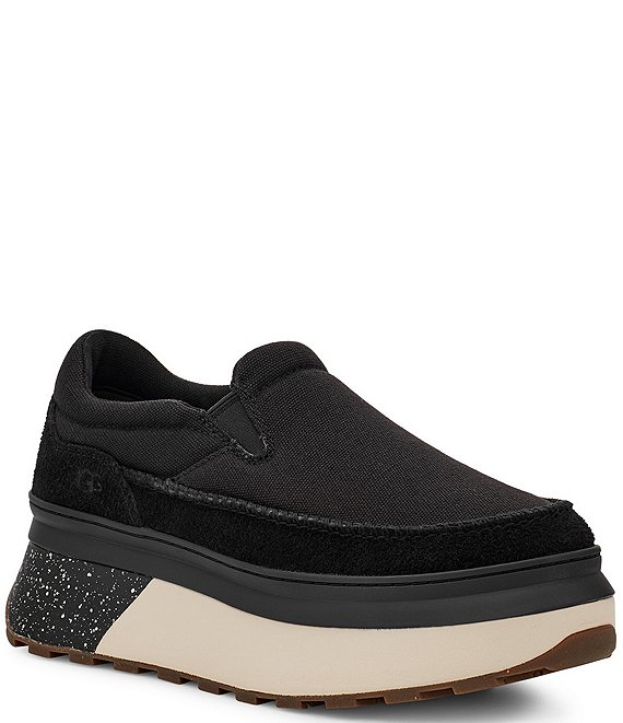 Color:Black Canvas - Image 1 - UGG® Marin Canvas Suede Slip-On Sneakers