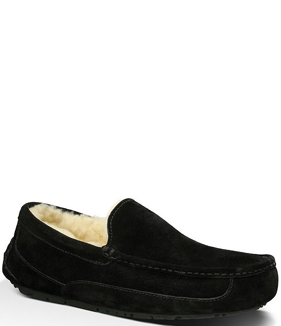 Color:Black - Image 1 - UGG® Men's Ascot Suede Moc-Toe Slippers