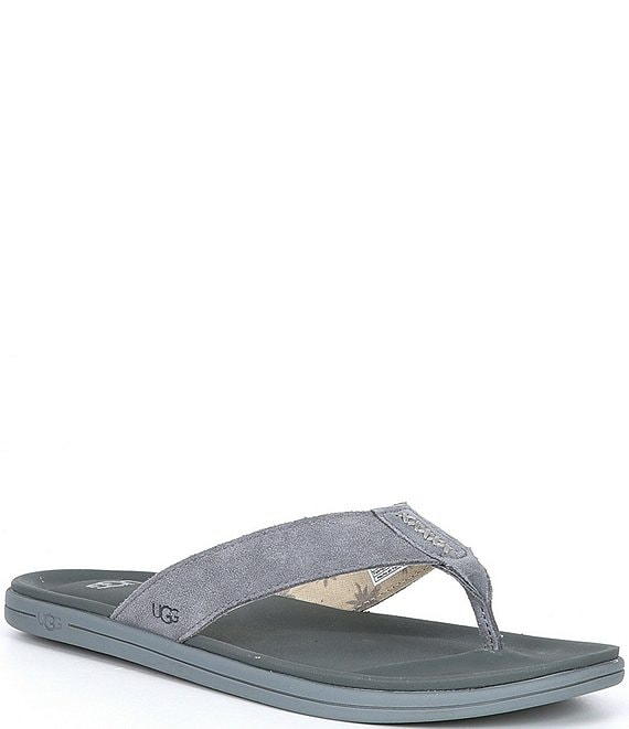 Color:Metal - Image 1 - UGG® Men's Brookside Suede Flip Flops