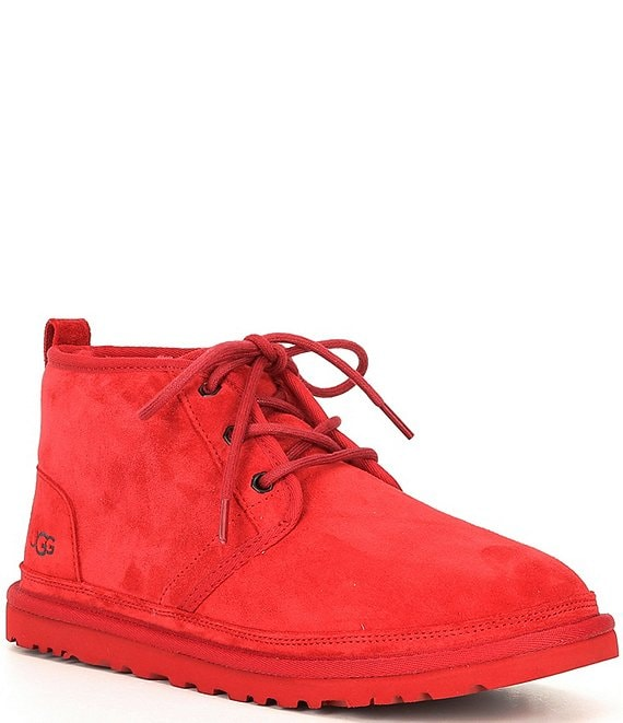 Color:Samba Red - Image 1 - UGG® Men's Neumel Classic Fur Lined Suede Lace-Up Chukka Boots