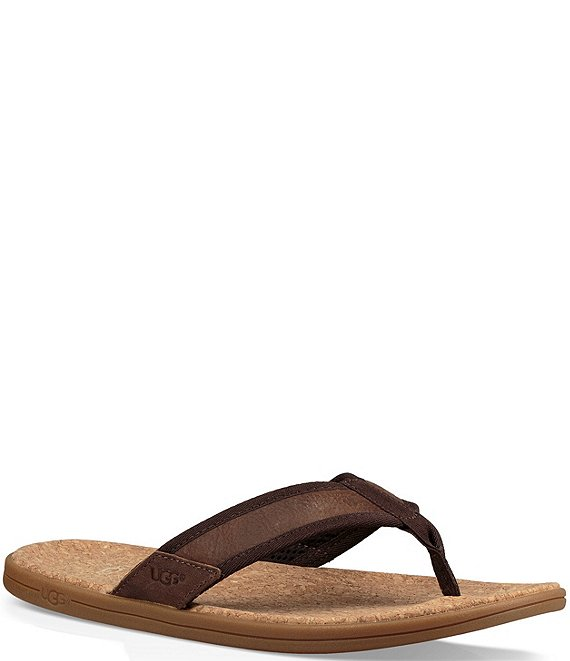 Color:Chestnut - Image 1 - UGG® Men's Seaside Leather Flip Flops