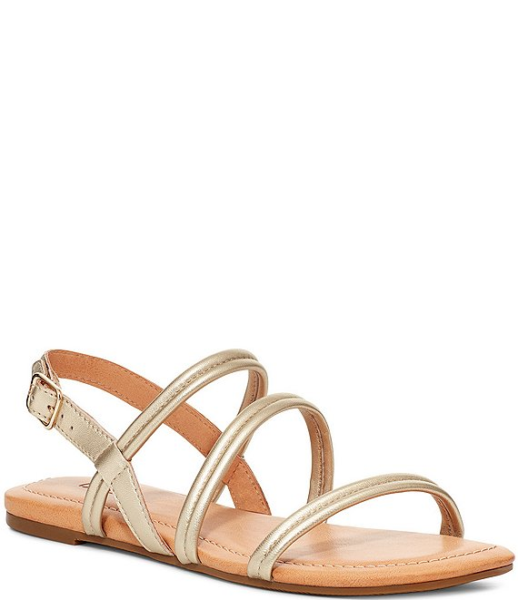 Color:Gold Metallic - Image 1 - UGG® Mytis Leather Sandals