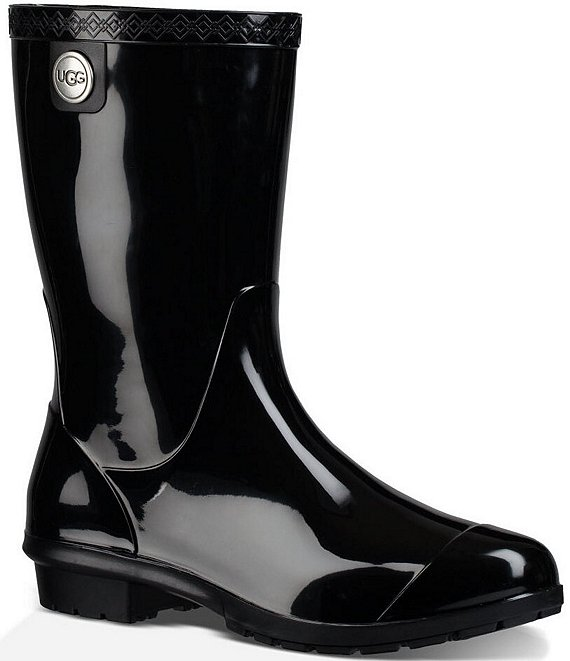 Color:Black - Image 1 - UGG® Sienna Rubber Shearling Lined Glossed Waterproof Rain Boots