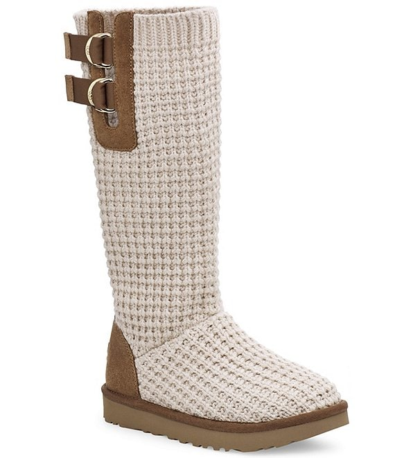 Color:Chestnut/Oatmeal - Image 1 - UGG® Solene Tall Knit Boots